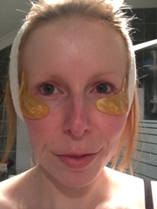 Me wearing Jamela 24k gold collagen eye masks
