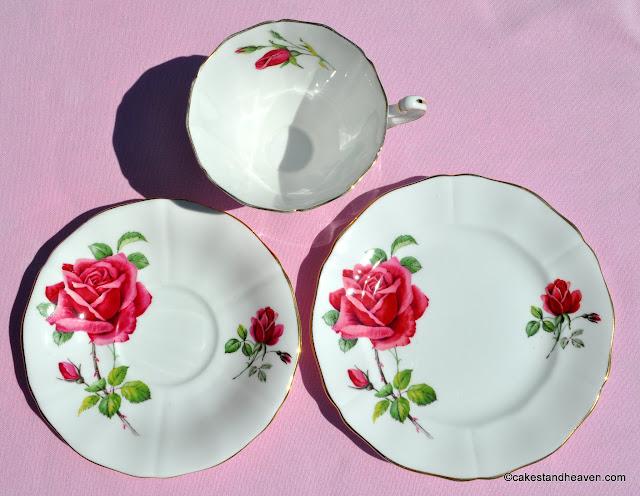 Adderley pretty pink rose pattern fine bone china