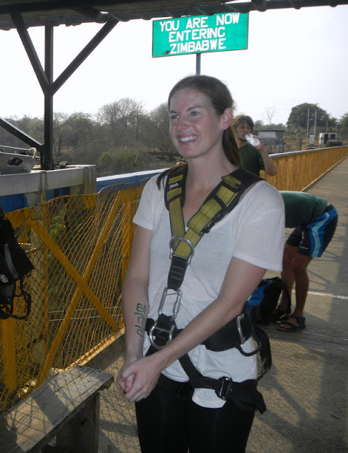 Betsy prepares to bungee