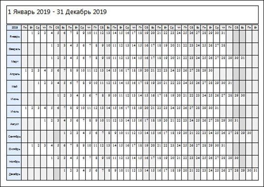 скачать календарь месячных на 2019 год
