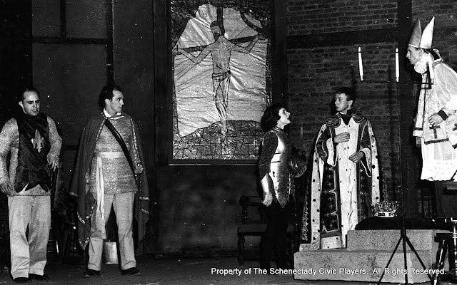 Martin Rich, Anthony Coppola, Bertha Miller, Ed Kyle and Elmer Kidder in JOAN OF LORRAINE - March 1955.  Property of The Schenectady Civic Players Theater Archive.