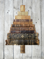 Book Spine Tree Upcycled Art by Vintage with Laces