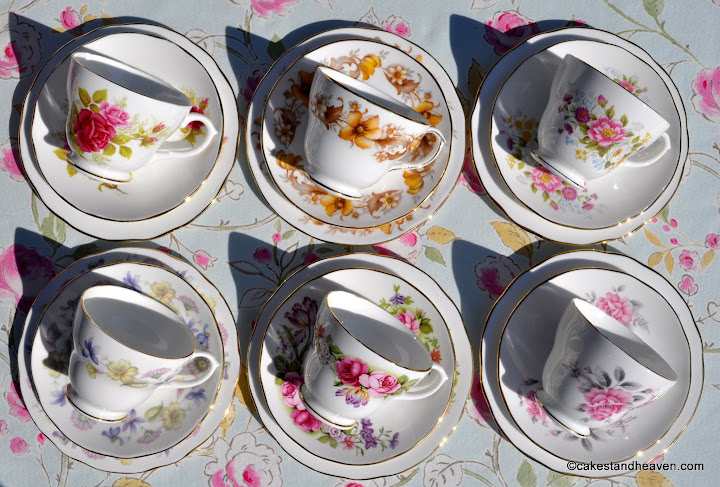 Duchess mismatched floral vintage teacups set