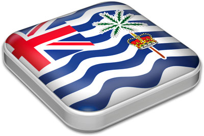 Flag of British Indian Ocean Territory with metallic square frame