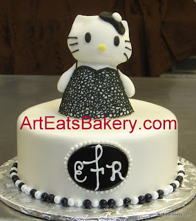 Hello Kitty in a black lace lingere sugar figure engagement party fondant cake with monogram and pearls