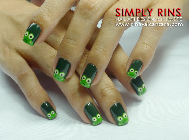Keroppi or Frog Nail Art Design