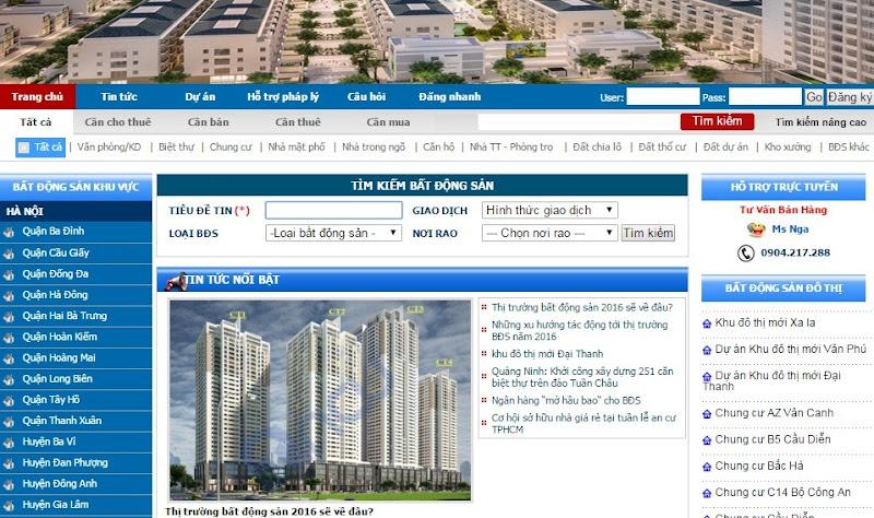 Website bất động sản, rao vặt nhà đất CCHT