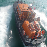 Poole's Tyne class lifeboat 'City of Sheffield' viewed from Portland Coastguard helicopter