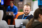 Dannish researcher speaks to the hackers during EUhackathon 2014 at Googleplex in Brussels, Belgium on 02.12.2014