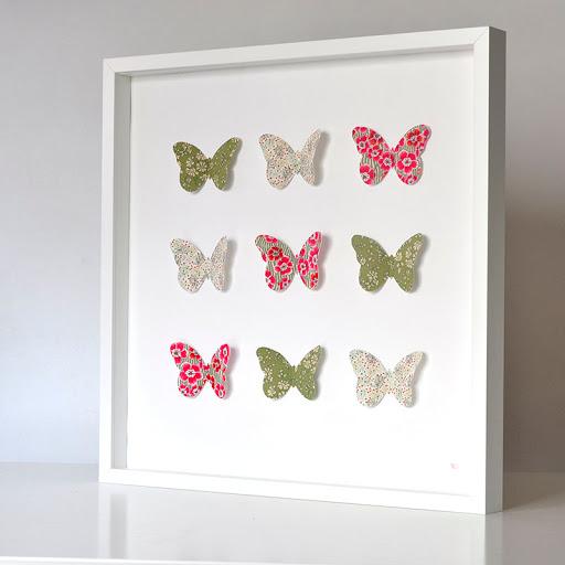 Grand cadre papillons Vert et rouge Mille Coquelicots