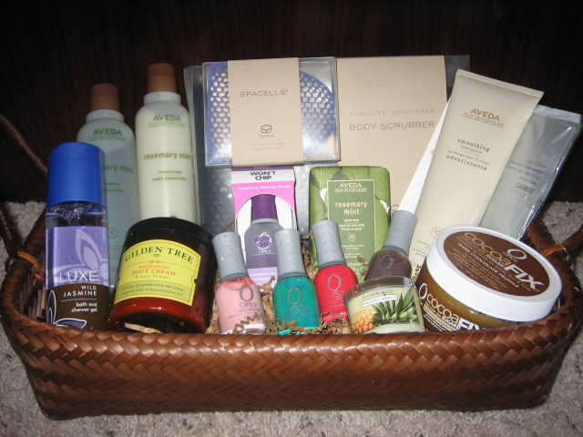 Another luxurious set with Stimulite Body Scrubber, SpaCells Facial exfoliator, Aveda Shampoo and Conditioner, Aveda Rosemary Mint Body Bar, Orly Cocoa Fix ...