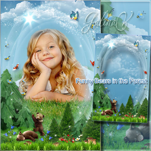 Kid's Frame for Photoshop - Funny Bears in the Forest