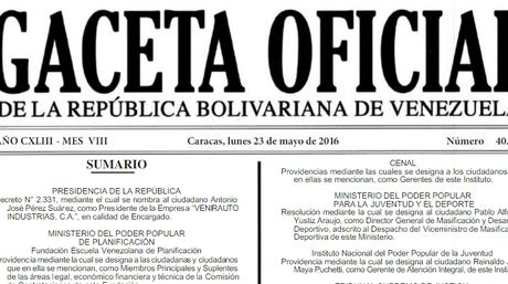 Gaceta Oficial 40912 en PDF Jueves 26/05/2016