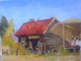 kucie w skansenie, olej, płótno, 40 x 50 cm