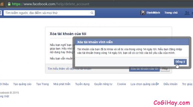 Đồng ý xóa vĩnh viễn Facebook