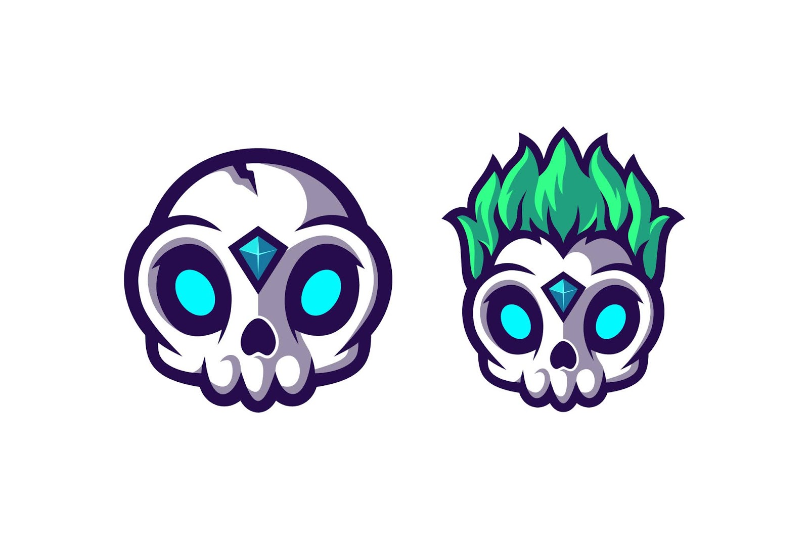 Awesome Cute Skull With Two Option Model Free Download Vector CDR, AI, EPS and PNG Formats