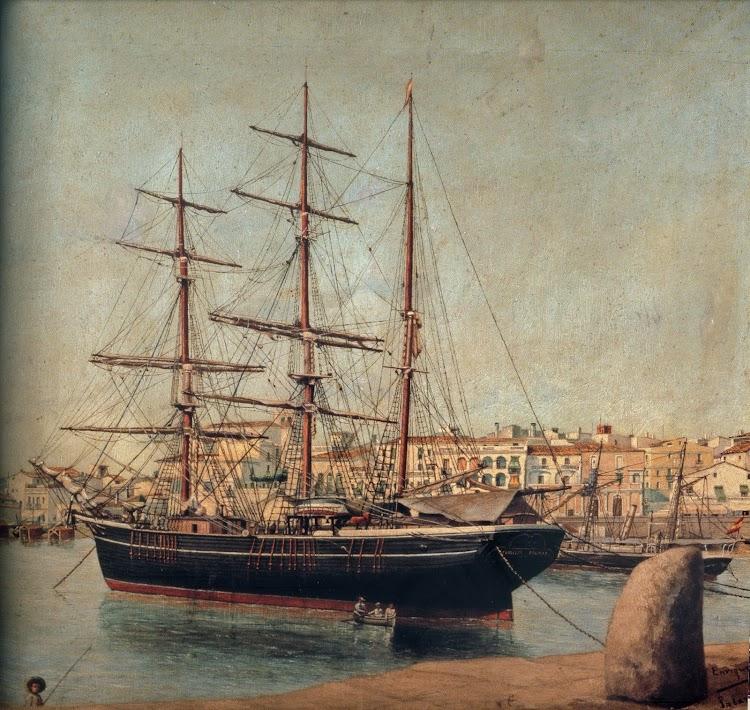 Palamos. Año indeterminado. La PRINCESA DAGMAR fondeada junto a un cañonero de la Armada. Cuadro del libro Veleros. MMB.tif