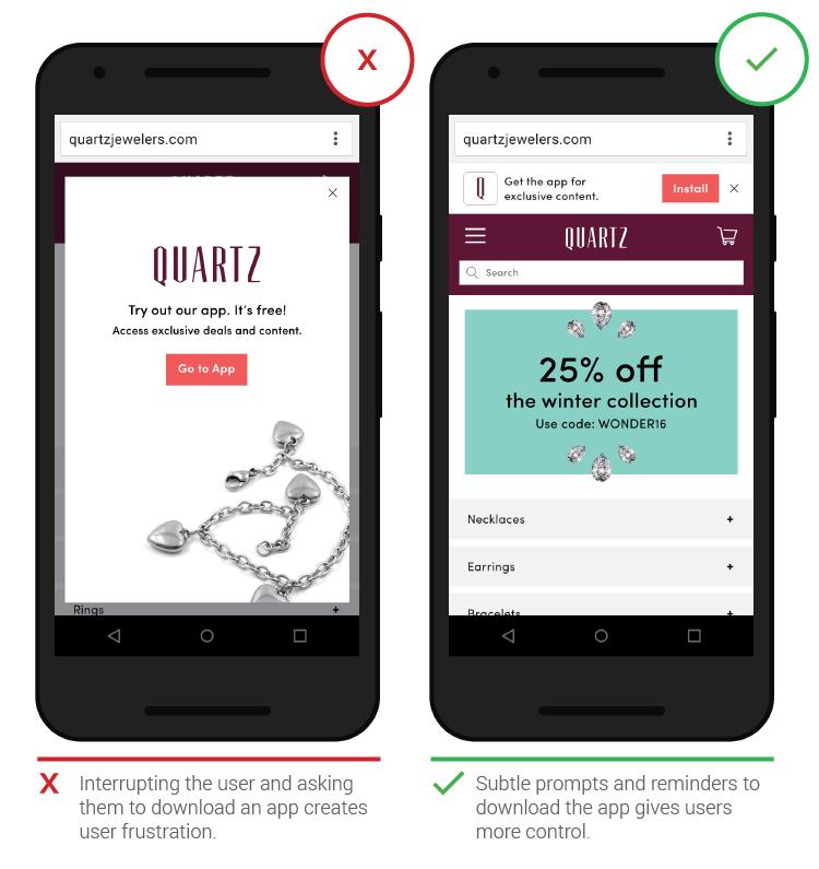 Đề nghị khách hàng tải app sẽ khiến người dùng khó chịu