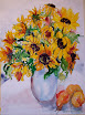 Sunflowers with Peaches and a Pear