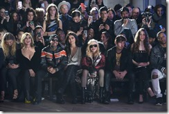 NEW YORK, NY - FEBRUARY 13:  (L-R) Carine Roitfeld, Tyga, Kylie Jenner, Madonna and Steven Klein attend the Front Row for the Philipp Plein Fall/Winter 2017/2018 Women's And Men's Fashion Show at The New York Public Library on February 13, 2017 in New York City.  (Photo by Dimitrios Kambouris/Getty Images for Philipp Plein)