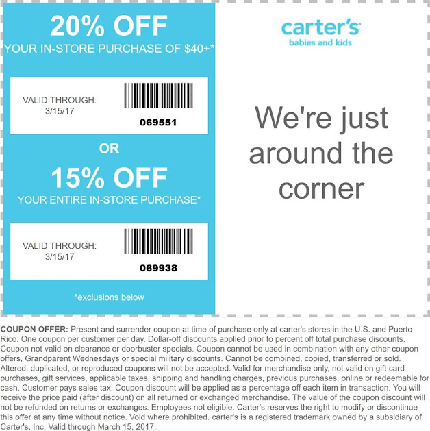 15 20 Off At Carters 03 15 2017 Free Coupons