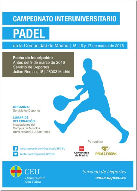 Campeonato Universitario de Pádel 2016 Comunidad de Madrid del 15-17 marzo.
