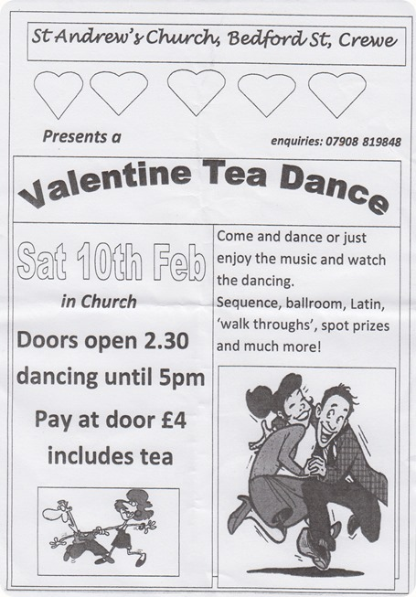 Valentine Tea Dance - Crewe - Sat  10-2-18