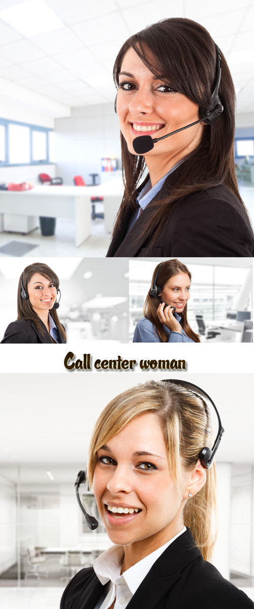 Stock Photo: Call center woman