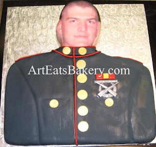 Marine custom unique fondant face cake in dress uniform