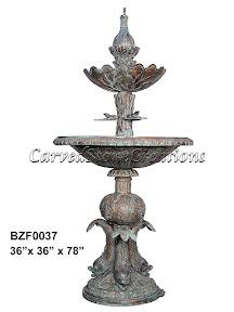 Bronze, Fish, Fountain, Frog, Pedestal, Statue