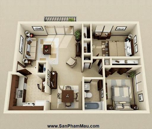 Phương án thiết kế mặt bằng có 2 phòng ngủ đẹp - Tủ âm tường-2