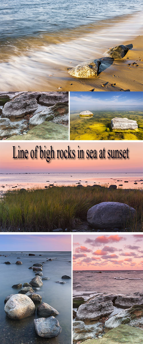 Stock Photo: Line of bigh rocks in sea at sunset