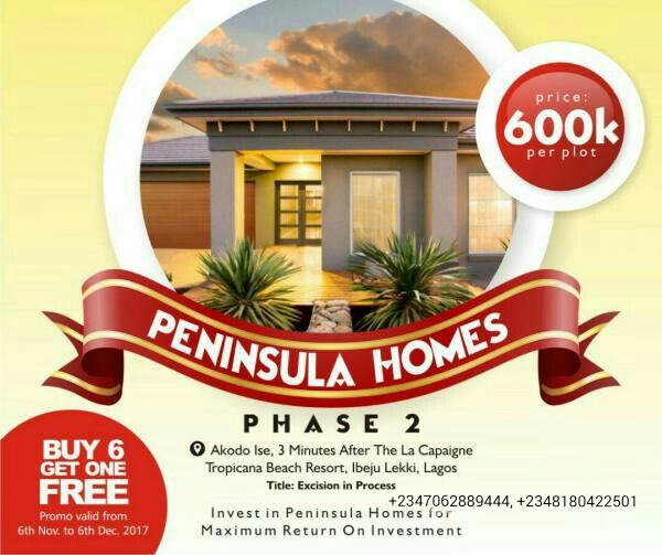 PENINSULA HOMES PHASE 2, AKODO ISE, IBEJU LEKKI, LAGOS (LAND FOR SALE)