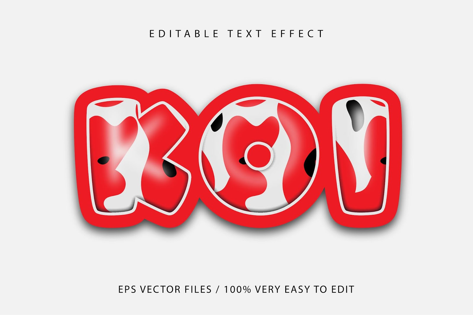 Koi Fish Pattern Text Effect Editable Text Free Download Vector CDR, AI, EPS and PNG Formats