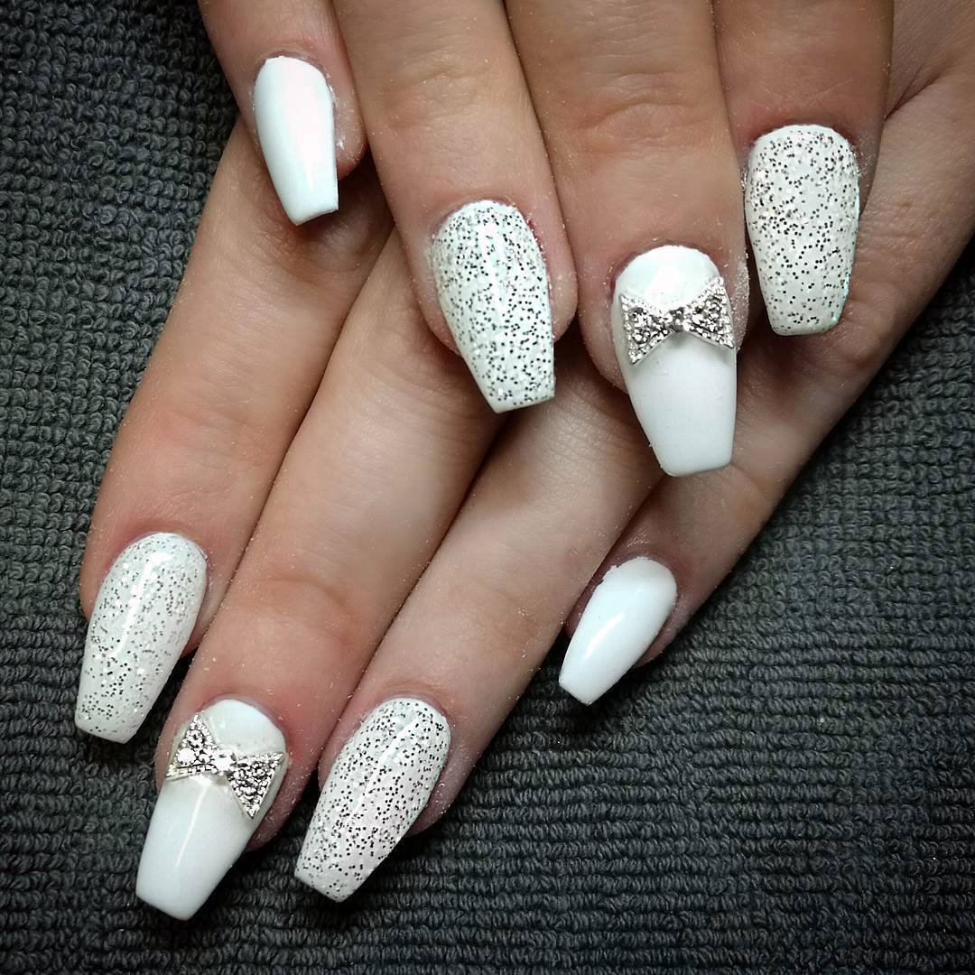Fancy White Coffin Nails Bright And Fasionable Designs 2018