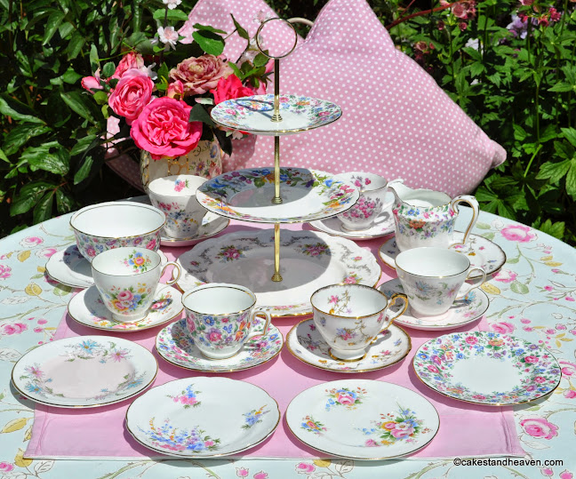 Summer Days Mismatched Vintage China Tea Set with Cake Stand