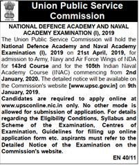 UPSC NDA NA 1 Exam 2019 Notice www.indgovtjobs.in