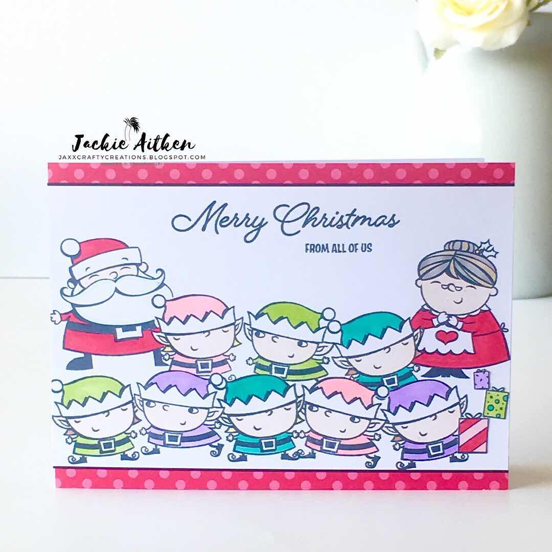 so santa stamp set, santa's workshop, stampin up, jaxx crafty creations, christmas card, brights 6x6 DSP pack