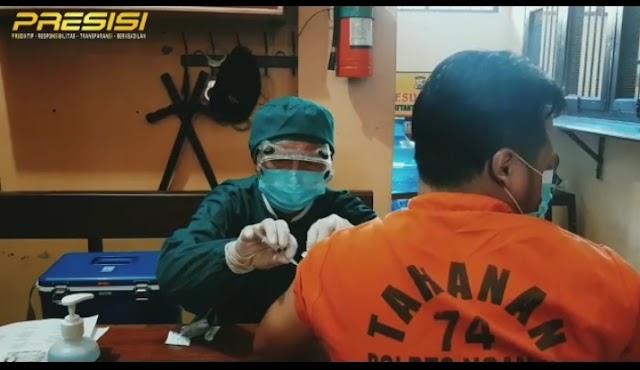 Gerai Vaksin Presisi Polres Nganjuk Hari ini Vaksin Tahanan dan Puluhan Mahasiswa