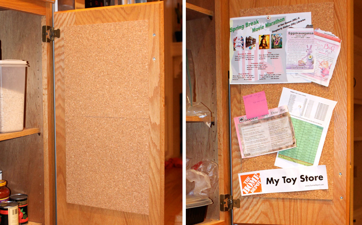 Corkboard inside cabinet door