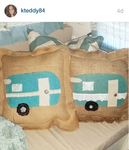 burlap and lace aqua vintage camper pillows