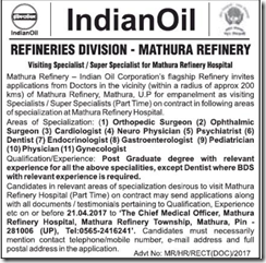 IOCL Mathura Refinery Advertisement 2017 indgovtjobs