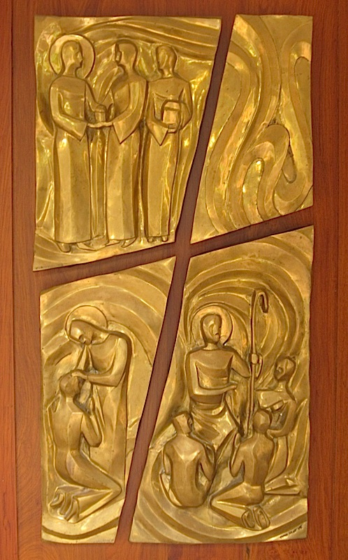 bronze panels by Juan Sajid Imao on the doors of the St. Stanislaus Kostka Chapel of the Ateneo de Manila High School