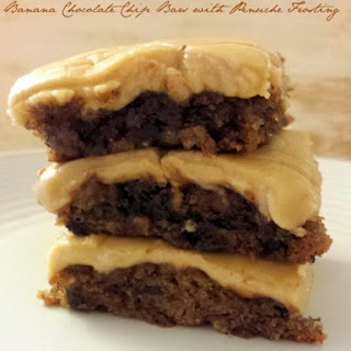 Banana Chocolate Chip Bars with Penuche Frosting