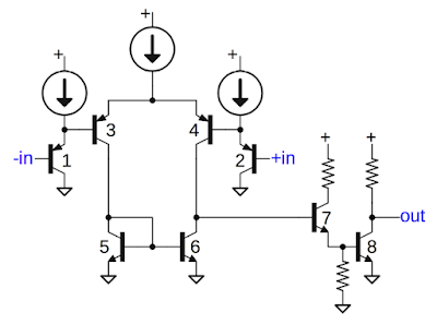 Schematic of comparator circuit in 76477 sound chip, slightly simplified.