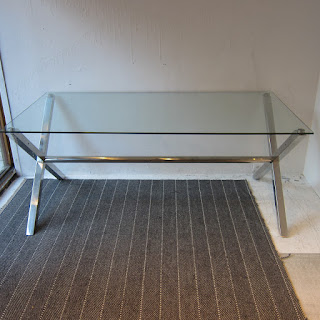 Plate Glass & Chrome Dining Table