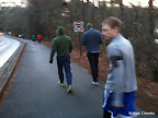 Justin (green sweatshirt), Steve (blue shirt), and Mike walking to pre-race area. We carpooled with Justin and Steve.