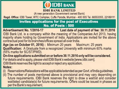 IDBI Bank Careers 2017 www.indgovtjobs.in