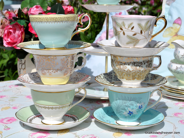 duck egg blue, pink, green and yellow vintage teacups