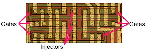 Six I2L gates in the 76477 chip. Each gate is implemented with a single, compact transistor.